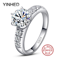 Luxury Classic 6 Claws Simulated Diamond Ring For Women 925 Sterling Silver Engagement Rings Sona Diamond