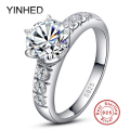 95% Off ! YINHED 1ct Sona CZ Diamond Wedding Rings for Women Solid 925 Sterling Silver Ring Engagement Ring Fine Jewelry ZR168