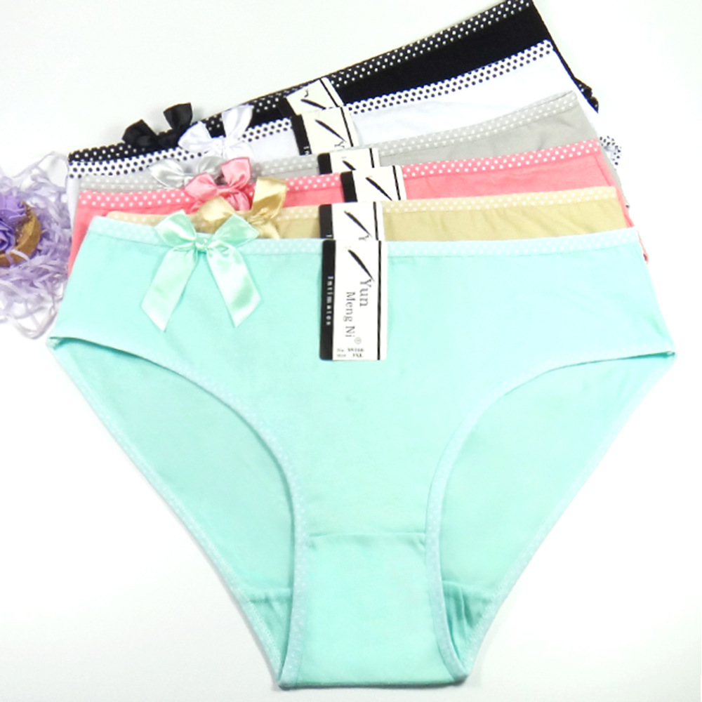6 pcs/lot Big yards 2XL/3XL/4XL Women's panties Large size lady mum pants pure color cotton women's Free shipping