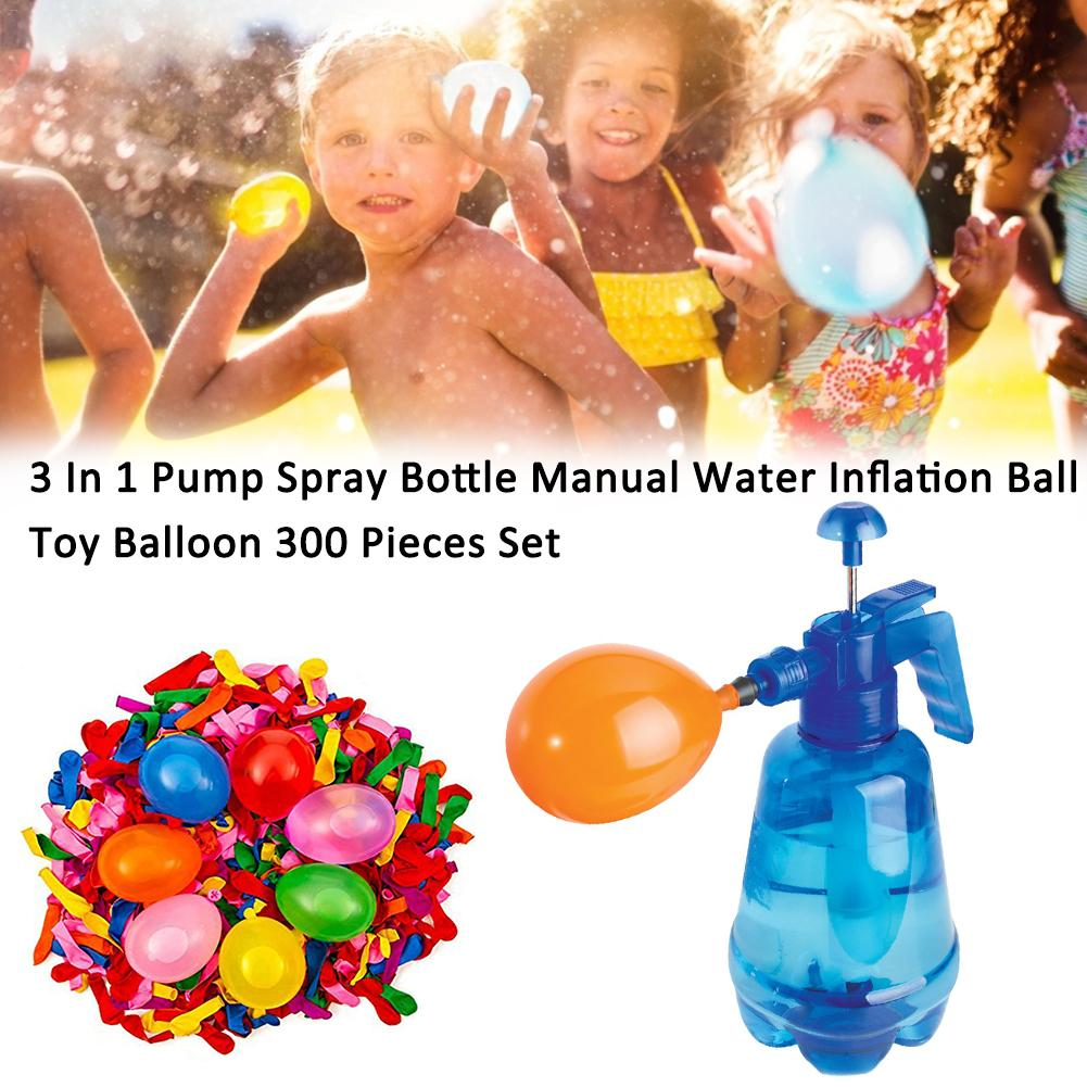 300pcs/set Water Balloon Beach Toys Pump Spray Bottle Manual Water Inflation Ball Toy Balloon Summer Outdoor Toys For Children