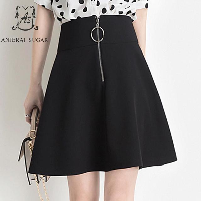 Plus size skirts womens High Waist Vestidos Spring Summer korean Zipper metal ring Safety trousers A line short Umbrella skirt