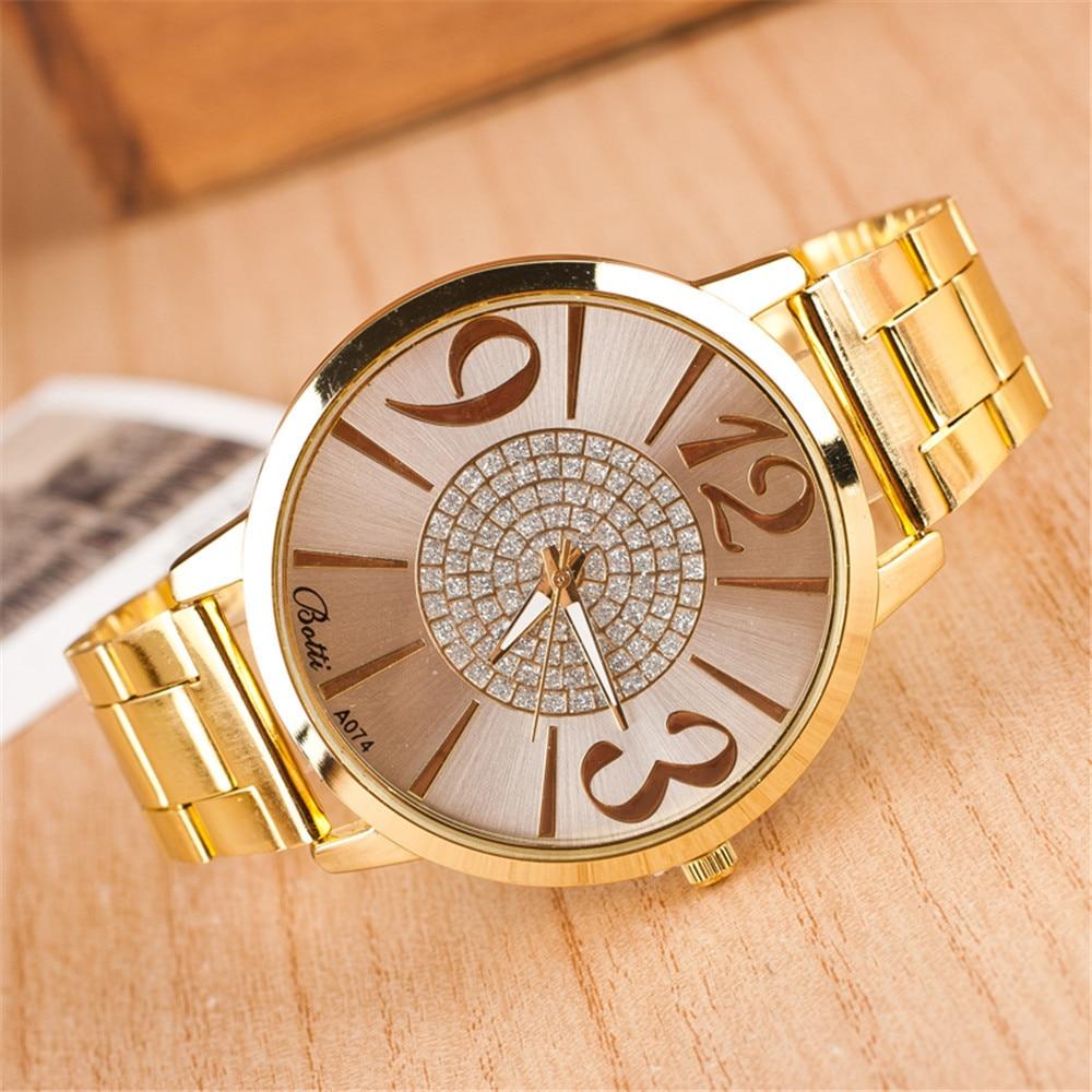 2019 New Brand Gold Genève Big Casual Quartz Watch Kvinnor Stainless Steel Dress Klockor Relogio Feminino Ladies Clock Hot Sale
