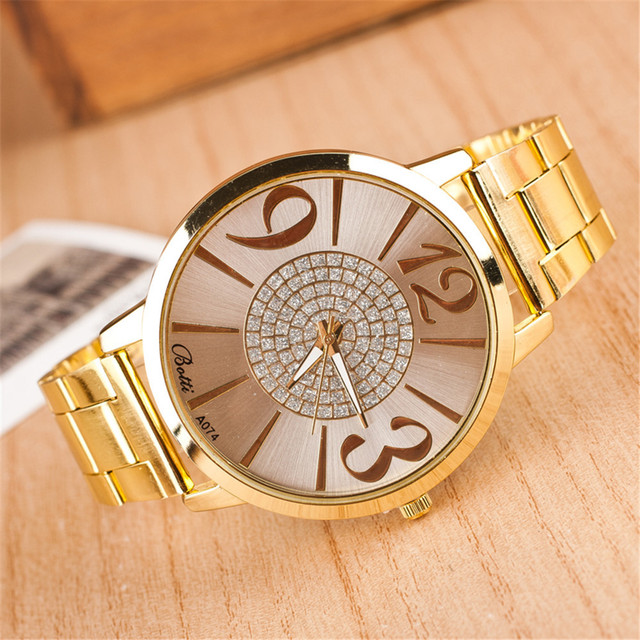 2019 New Brand Gold Geneva Big Casual Quartz Watch Women Stainless Steel Dress W