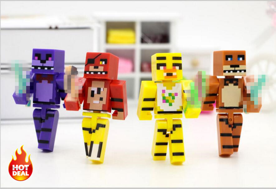 4pcs/set Minecraft Five Nights At <font><b>Freddy's</b></font> 4 <font><b>FNAF</b></font> Foxy Chica Bonnie <font><b>Freddy</b></font> Action <font><b>Figures</b></font> Kid Toy