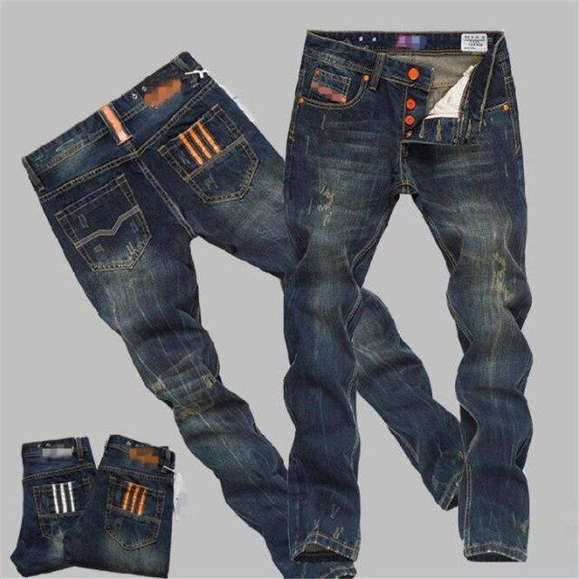 2019 חדש חור Ripped למתוח מפורסם אופנה מעצב כפתור ג 'ינס גברים ישר כהה כחול צבע מודפס Mens Ripped ג' ינס