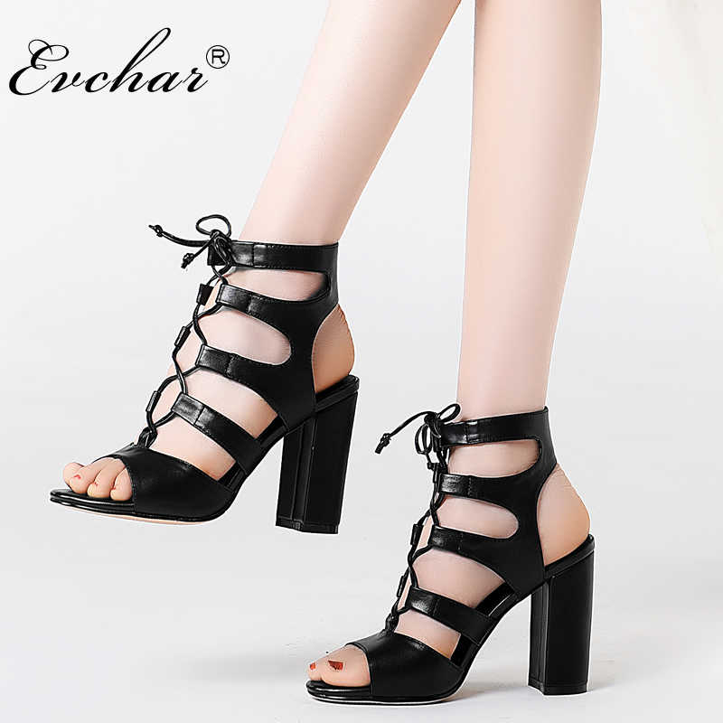 EVCHAR  Genuine Leather  Peep Toe gladiator Shoes Women Summer Lace-Up Woman Shoes Sandal super High Heels Sandals  size 33-40 dijigirls women pumps peep toe high heels gladiator sandals shoes woman party wedding flock leather stiletto lace up summer boot
