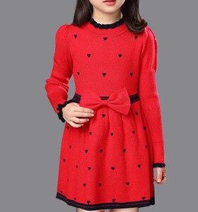 Image 2 - Зимнее Хлопковое платье с высоким воротом для девочек, платье принцессы с длинными рукавами, детская одежда красного, синего цвета