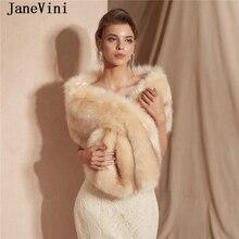 JaneVini Элегантное свадебное болеро из искусственного меха свадебная шаль Женская официальная зимняя накидка меховая накидка, Верхняя одежда Куртка аксессуары для невест