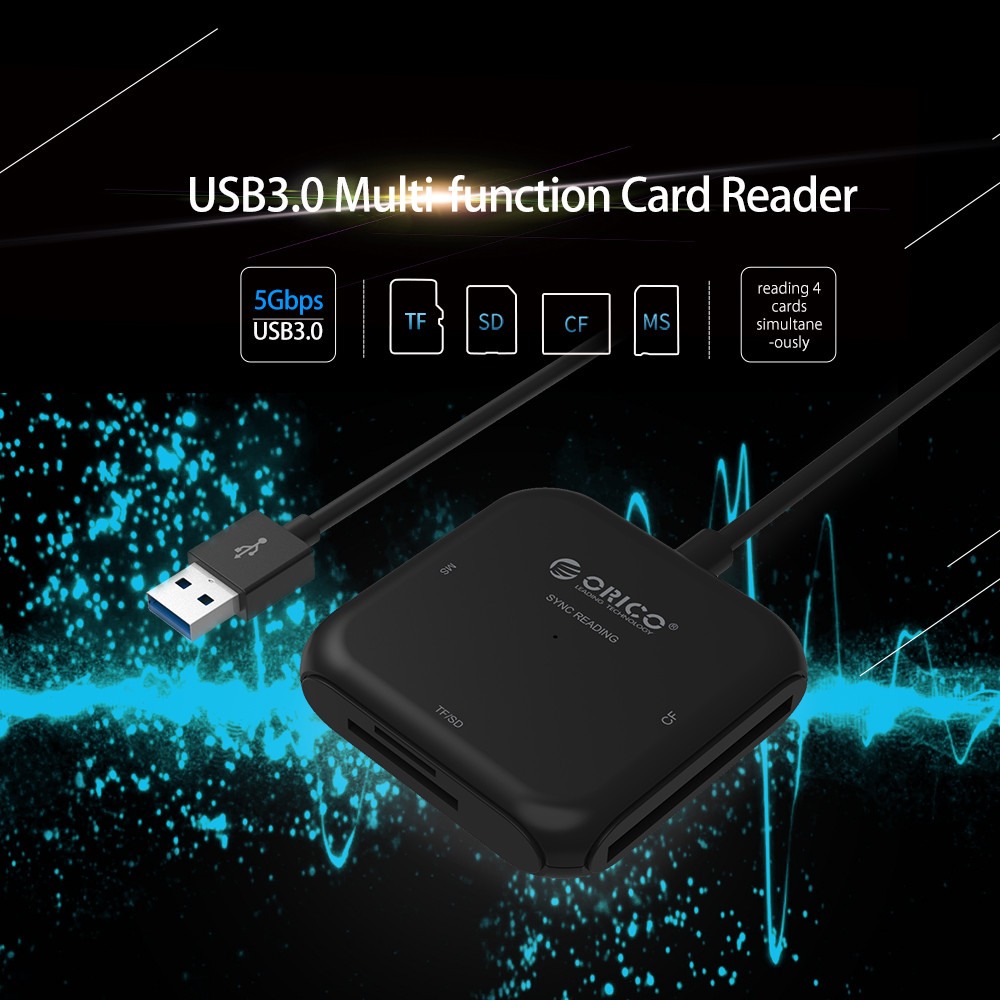 ORICO 4 in 1 USB 3.0 Smart Card Reader Flash Multi Memory Card Reader for TF / SD / MS / CF 4 Card Read & Write Simultaneously