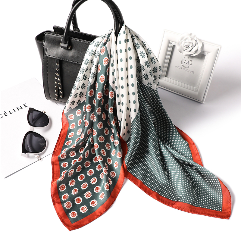 70 Cm Square Silk Scarf For Women Elegant Print Neck Scarfs Lady's Small Headband Wraps Foulard Handkerchief