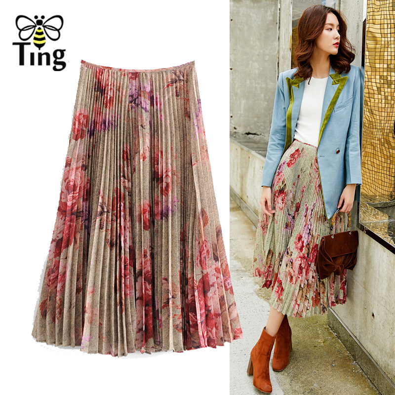 Tingfly Designer Van Gogh Painting Print Pleated Skirt Women Fashion Floral High Quality Skirt Streetwear Brand Bottoms Saia
