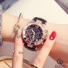 GUOU Brillante Reloj de Diamantes Relojes de Las Mujeres de Lujo Rhinestone Relojes de la Mujer Reloj de Cuero reloj mujer del relogio feminino montre saat