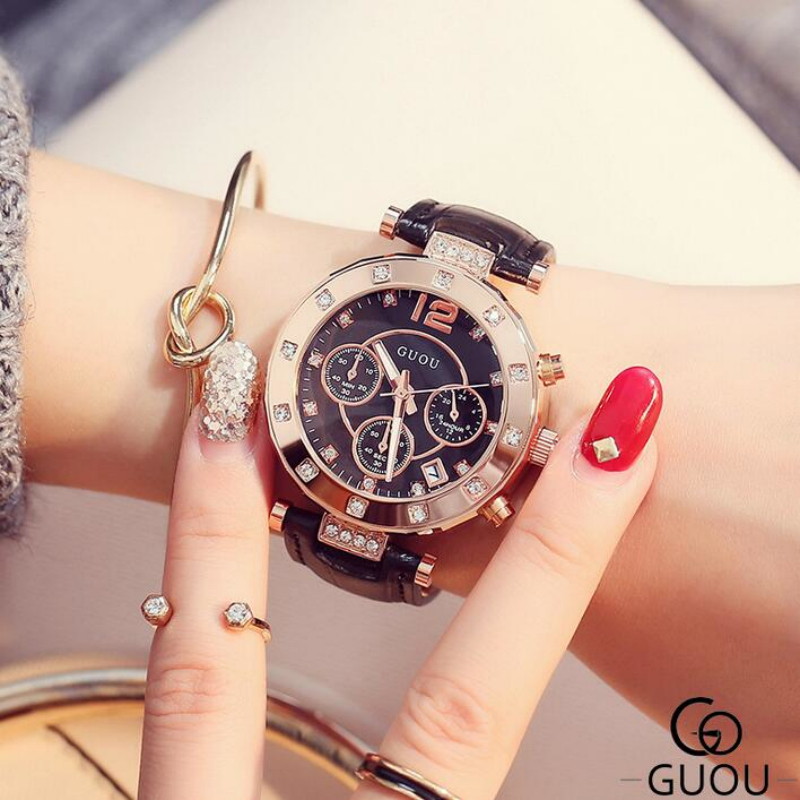 GUOU Shiny Diamond Wrist Watch Women Watches Luxury Rhinestone Women's Watches Ladies Watch Clock bayan saat relogio feminino nidec v60e12bs1a7 09a032 6cm 60mm 496064 001 496066 001 server cooling fan p n 463172 001 dl380g6 dl388g7