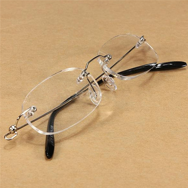 Women Fashion Rimless Presbyopic Reading Glasses Men Transparent Spectacles +100 +200 +300 029