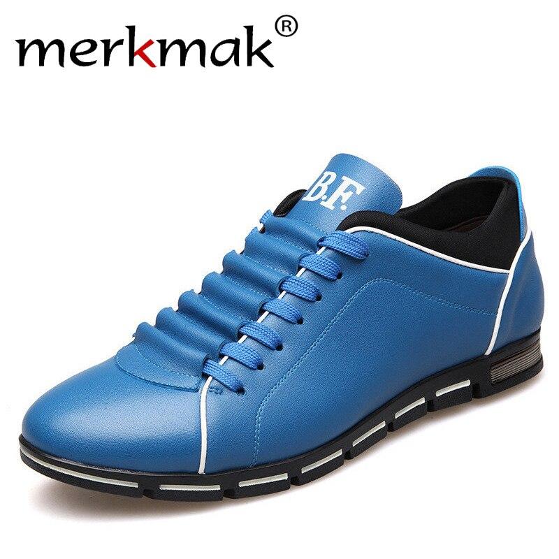 Merkmak gran tamaño 38-48 hombres zapatos casuales zapatos de cuero de moda para hombres verano zapatos planos de hombre Dropshipping