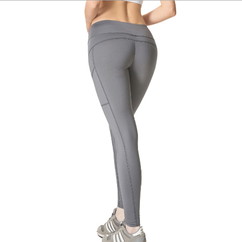 Women 39 s High Waist Yoga Pants With Side Pockets Tummy Control Workout Running Sports Pants Elastic Push Up Leggings in Yoga Pants from Sports amp Entertainment