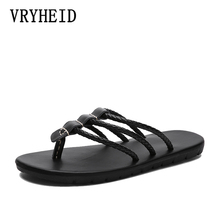 VRYHEID Brand Summer New Men Flip Flops High Quality Genuine Leather Comfortable outdoor Beach Shoes for fashion Male Slippers