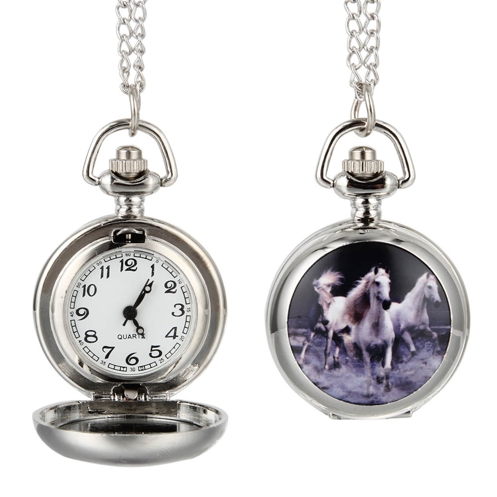 Fashion Women Men Quartz Pocket Watch Alloy Running Horses Vintage Lady Sweater Chain Necklace Pendant Clock Gifts LL@17 pocket fob watch roman numerals clock vintage quartz watches pendant necklace antique chain jewelry gifts for women men ll 17