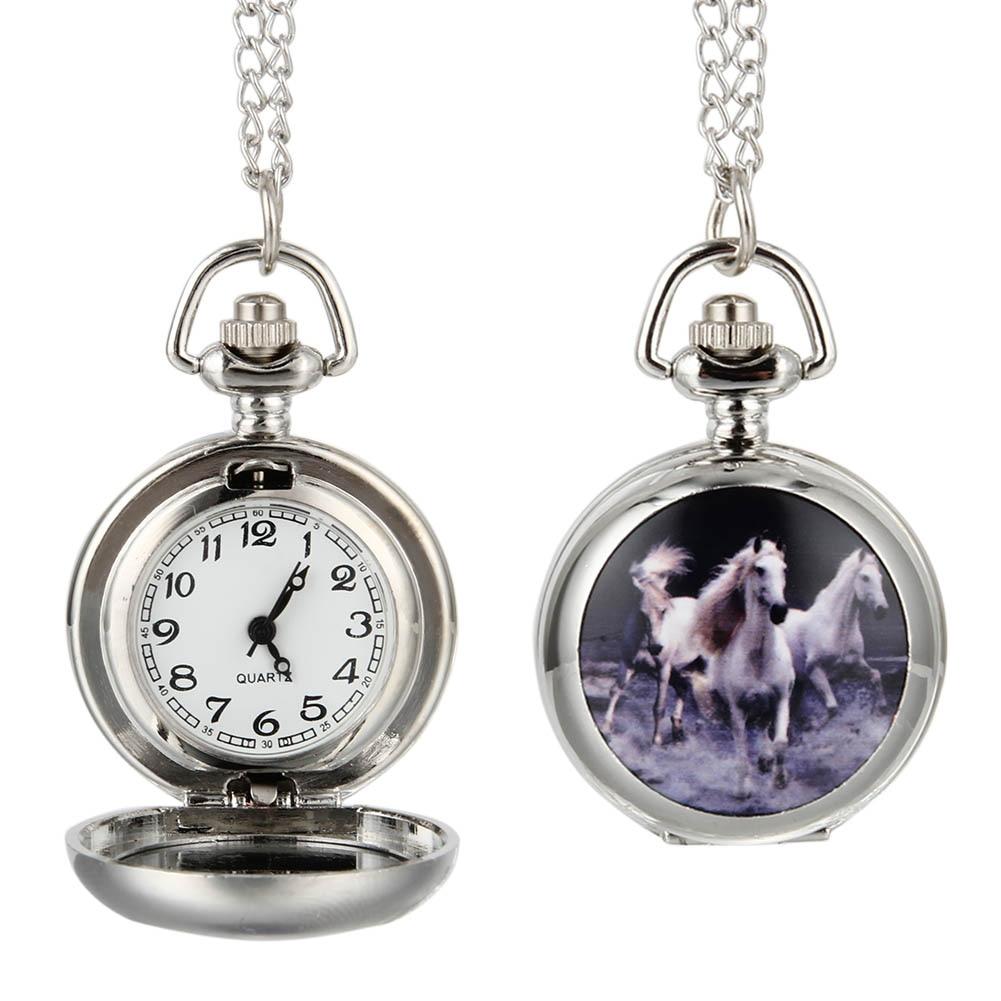 Fashion Women Men Quartz Pocket Watch Alloy Running Horses Vintage Lady Sweater Chain Necklace Pendant Clock Gifts LL@17