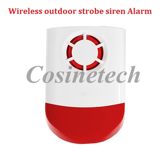 wireless outdoor strobe siren, flash siren horn with sound&light for security gsm,pstn burglar alarm system 120dB alarm whistle owlcat buzz sfb 55 dc6 12v high decibel alarm siren security electronic burglar buzzer buzzerphone 55 50mm freeshipping