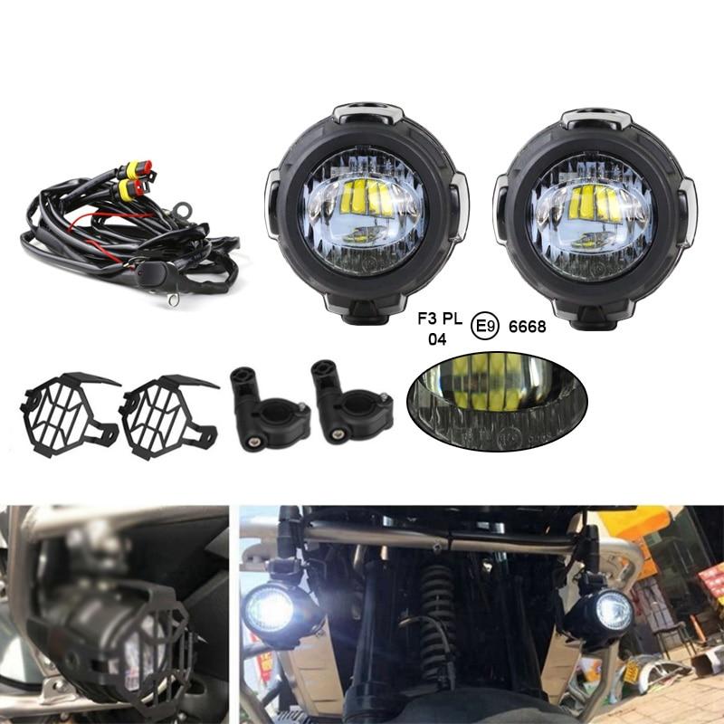 FADUIES E9 2 pièces LED Spot auxiliaire lumière de conduite + 2Psc garde de protection + 1Psc commutateur câblage pour BMW moto R1200GS F800GS - 2