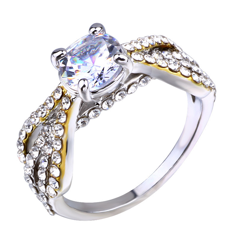 Female Twisted Ring Crystal Silver Gold Silver Color Bridal Ring Promise Knuckle Rings For Women in Engagement Rings from Jewelry Accessories