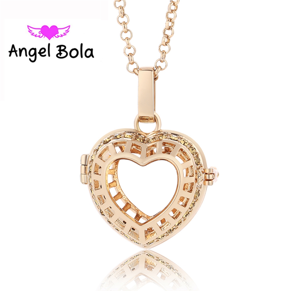 10PCS/Wholesale 22.5mm Lucky Heart Pattern Cage Necklace Engelsrufer Pendant Sound Ball Pryme Angel Bola Jewelry L058 for Mom