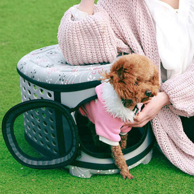 Pet Carrier For Dogs Cat Folding Cage Collapsible Crate Handbag Plastic Carrying Bags Pets Supplies Sac De Transport Pour Chien 4
