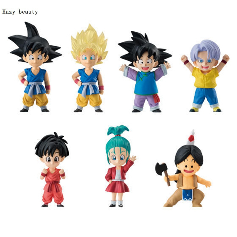 Hazy beauty BANDAI 7Pcs/Set Dragon ball Z DBZ Super Adverge Kid Goku Bulma Xiao Fang PVC Figure Toys Dolls Vol.02 цена и фото