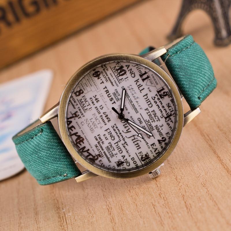 New Relogio Fashion Men Women Watches Denim Cloth Leather Watch Casual Quartz Ladies Wristwatch relogio feminino Gift Hot Sale
