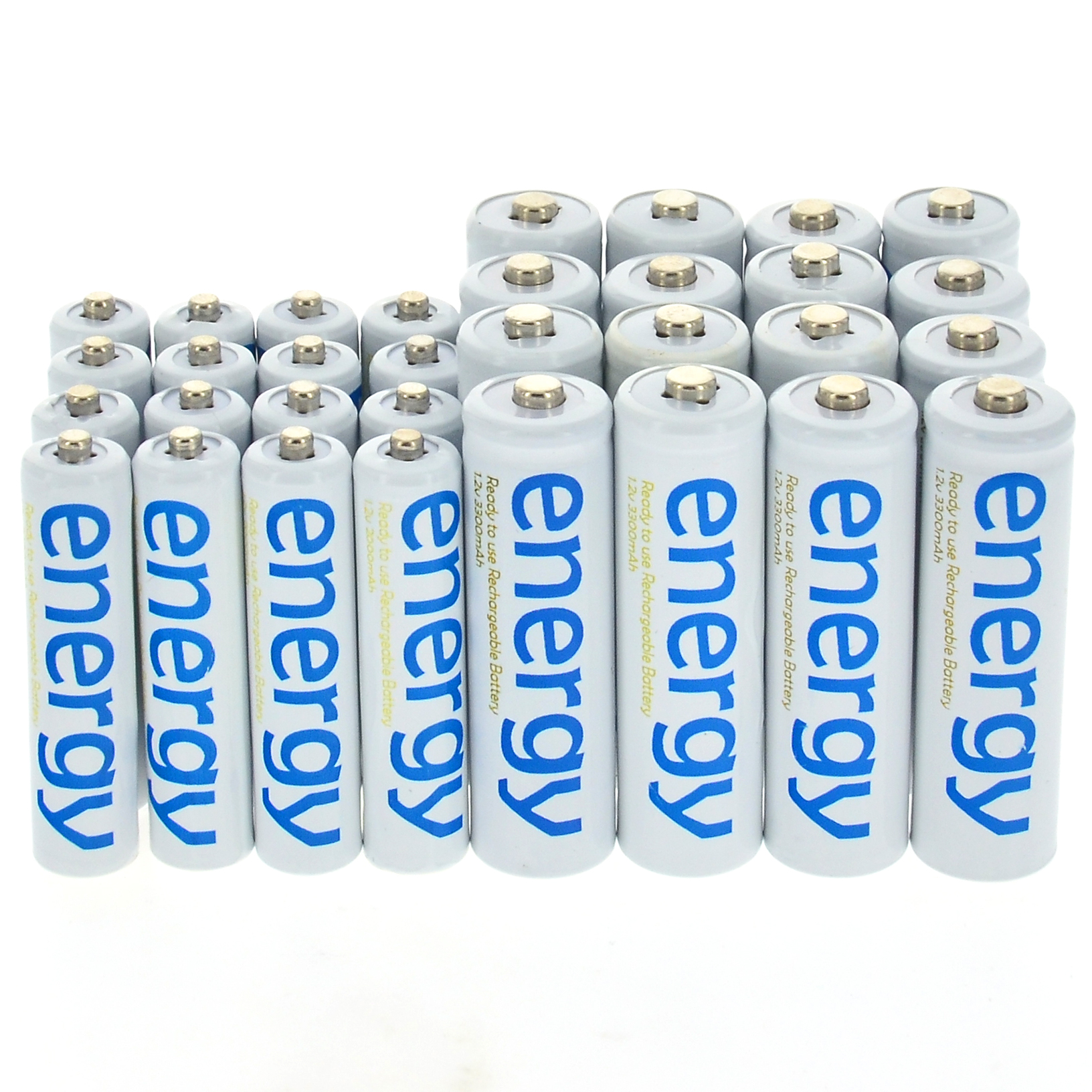 4/10/16/20/24/32/50pcs AA 3300mAh + AAA 2000mAh 1.2V Ni-Mh Energy Rechargeable Battery White Color Cell