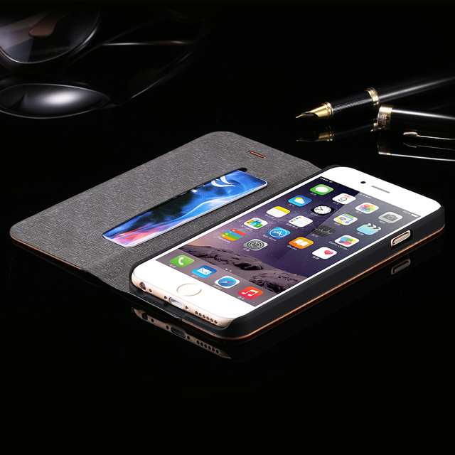 Luxury Leather + Bamboo Wood Flip Case For Apple iPhone 6 6S Plus For iPhone 7 Fashion Card Slot Wallet