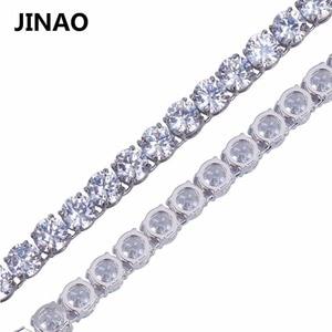 "Image 3 - JINAO היפ הופ שרשרת זהב/כסף צבע כל אייס מתוך נחושת מיקרו פייב CZ אבן 6mm טניס שרשרת שרשרת עם 18 ""20"" 24 ""30"""