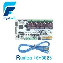 Free shipping 3D printer MPU Rumba optimized version supports three extruders 6pcsDRV8825 stepper drive 3d printer parts