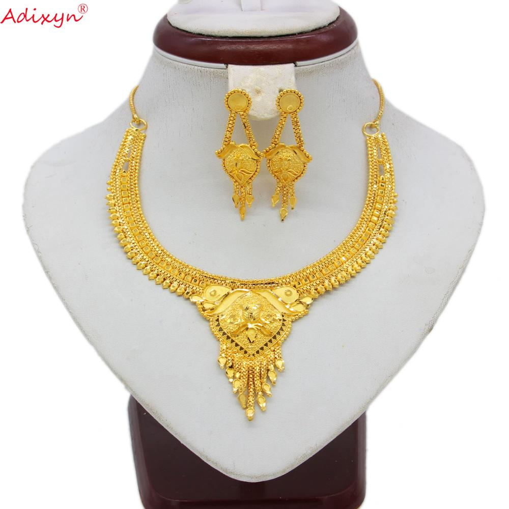 Adixyn India Jewelry Gold Color Jewelry Set For Women Girls Chokers Chain/Tassel Earrings Trendy Ethiopian Party Gifts N060811(China)