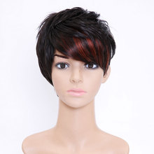 SHANGKE Hair Short Synthetic Wigs For Black Women Highlight Women's Wig Heat Resistant Female Fake Hair Wigs Free Shipping
