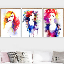Watercolor Girl Pop Wall Art Canvas Painting Nordic Posters And Prints Canvas Art Wall Pictures For Living Room Bedroom Decor стоимость