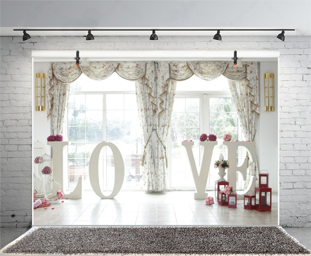 Laeacco Curtain Love Model Flowers Lamp Photocall Wedding Photo Backgrounds Customized Photographic Backdrops For Photo Studio in Background from Consumer Electronics