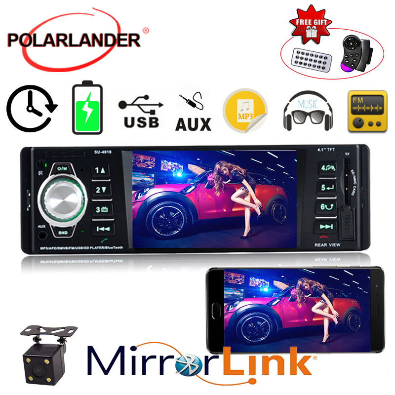 Car radio radio cassette player audio 1 din USB/SD/AUX mp5 player stereo video 4.1 inch Bluetooth FM TFT screen Autoradio image