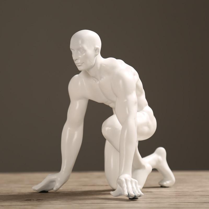 Abstract Race Start Athlete Sculpture Handmade Resin Sprinter Figurine Sports Souvenir Decor Art and Craft Adornment