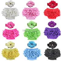 Wholesale Baby Cotton Bloomers 12 Colors Cute Baby Pants Tutu Design Infant Ruffle Short Diaper Cover Headband Set Free Shipping