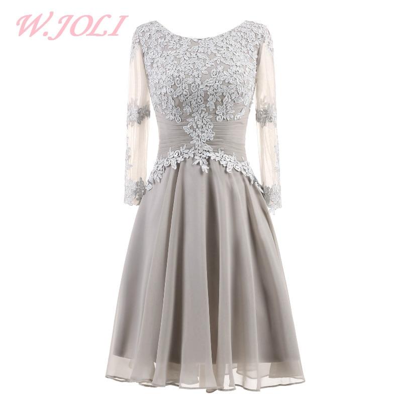 036088a1b94d W.JOLI Βραδυνό βραδινό φόρεμα Κομψά διακοσμητικά λουλούδια O-NECK ...