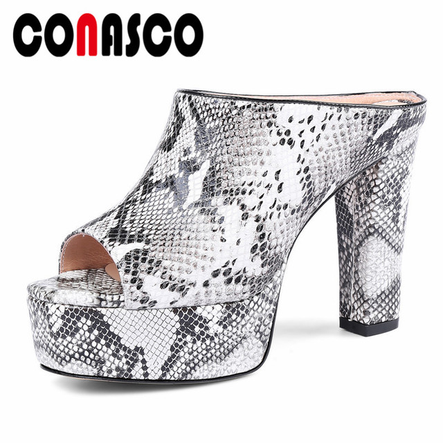 f3b64b44440 CONASCO Rome Style Summer Sandals Women High Heels Peep Toe Mules Shoes High  Platforms Casual Shoes Woman Ladies Prom Pumps