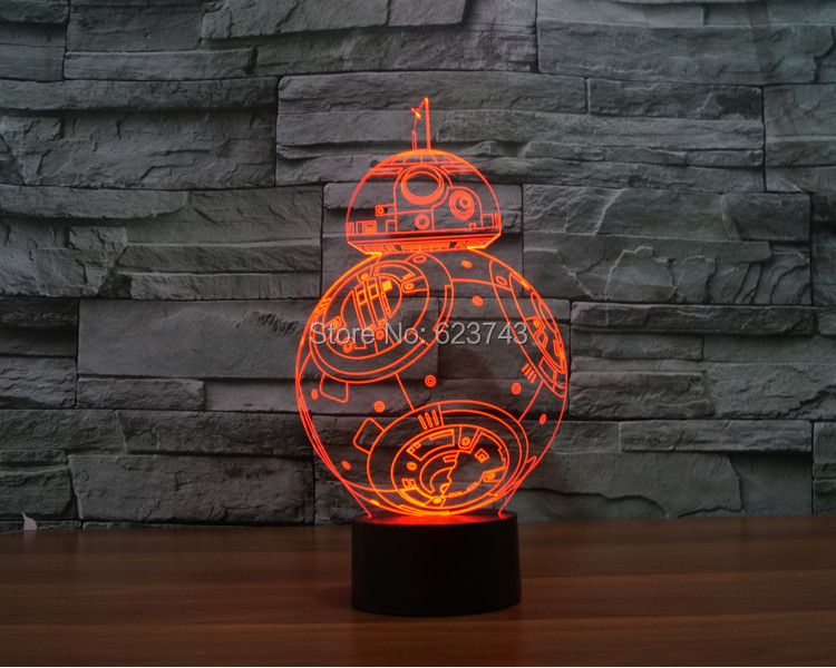 PULSUZ göndərmə 2016 yeni T-touch rəngarəng BB8 ulduz müharibələri yüngül tətili bəzək 3D BB-8 led gecə yüngül bb-8 gecə işıqları