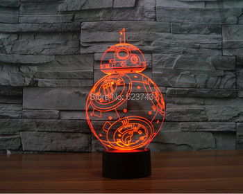 FREE SHIPPING 2016 new T-touch colorful BB8 star wars light holiday decoration 3D BB-8  led night light bb-8 night Lightsaber free shipping 2016 new electric led micromotor brushless led light source system fits nsk nlx nano inner water spray kavo dhl