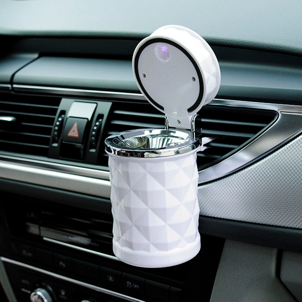 Hot Diamond <font><b>Shaped</b></font> Led Portable <font><b>Car</b></font> Auto Travel Smoke Cigarette <font><b>Ashtray</b></font> Holder <font><b>Cup</b></font> Stand Buckets