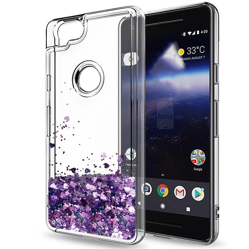 For Google Pixel 2 / Google Pixel 2 XL Case Girls Women Liquid Quicksand Bling Cute Clear Soft TPU Silicone Cases Back Cover