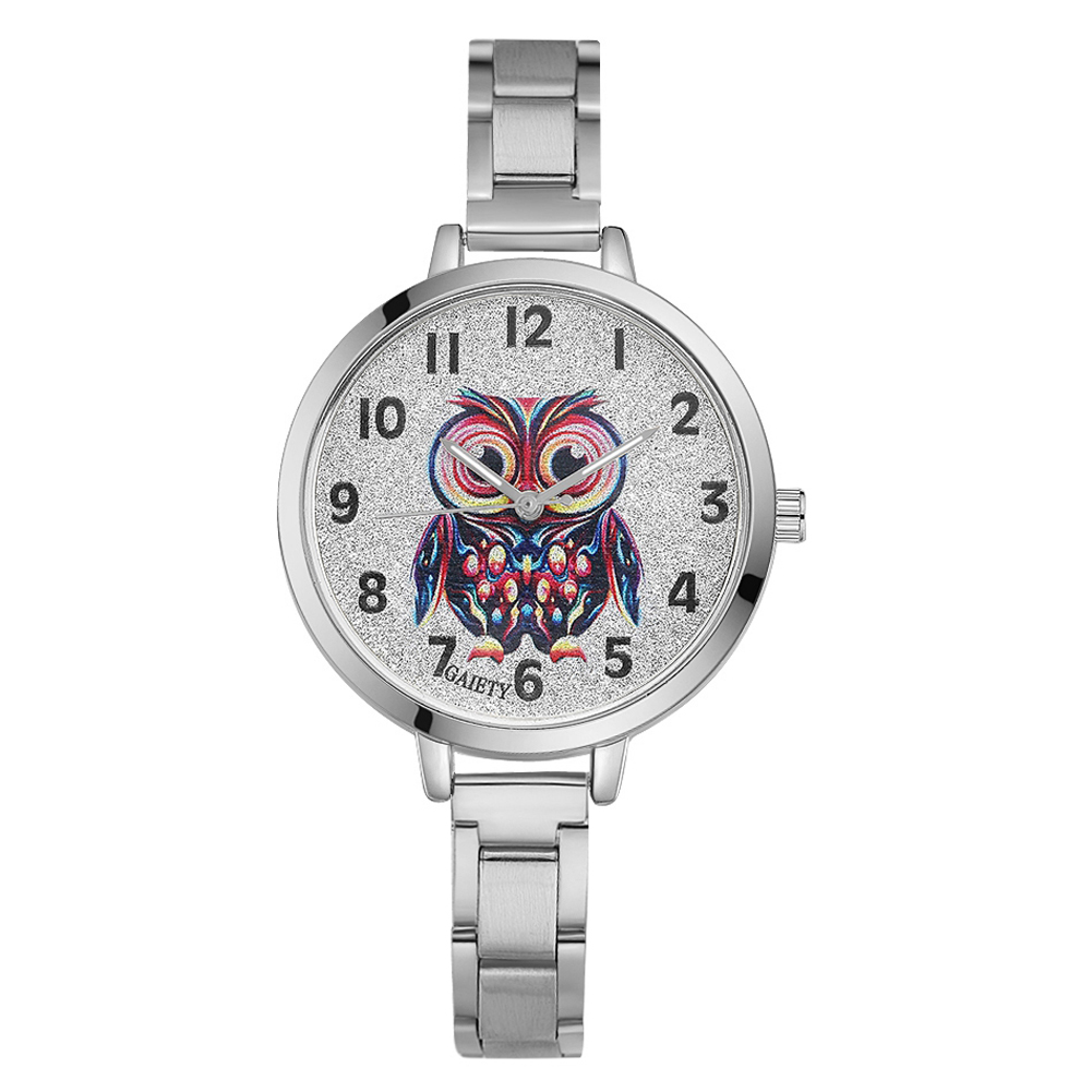 Women Steel Watches Man Owl Flower Pattern Analog Quartz Clock Fashion Ladies Watch zegarek damski analog watch