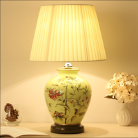 New Chinese Style Flower Ceramic Art Table Lamps Fashion Beautiful Fabric E27 LED Lamp For Bedside
