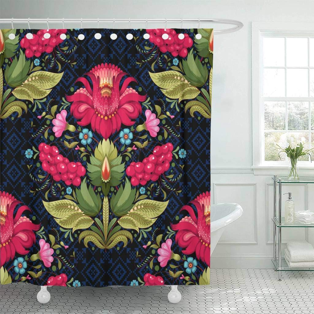 Us 17 06 36 Off Shower Curtain Hooks Dark Floral Ukrainian Flower In The Petrykivka Painting Similar Decorative Bathroom In Shower Curtains From